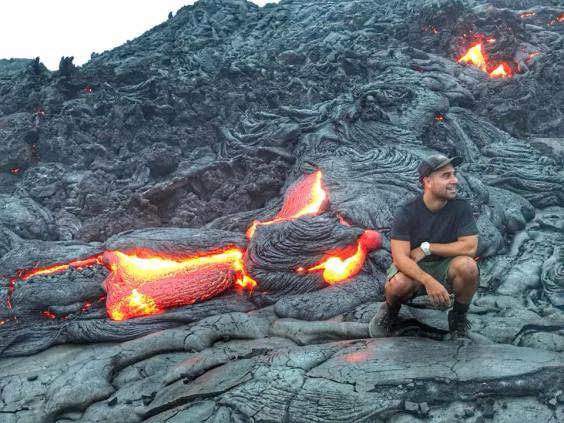 Guy Poses with Lava