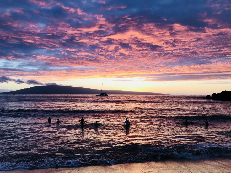Maui Beach Sunset - Pink